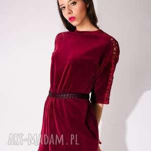 sukienki sukienka z bordowego weluru koronką, welur, aksamit, koronka, sexy