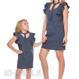 mama i córka sukienka z wiązaniem dla córki ld10 1 - falbany, tuba, mama