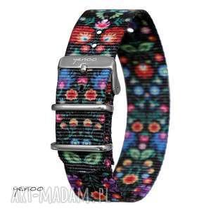 Pasek do zegarka - nato, nylonowy, folk czarny zegarki yenoo