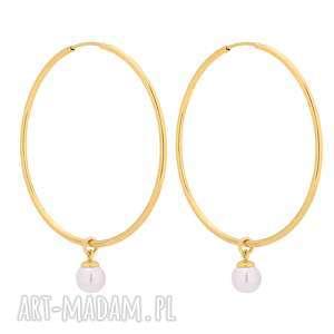 złote kolczyki duże koła z białymi perłami swarovski crystal, kolczyki