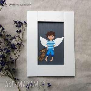 ręczne wykonanie pokoik dziecka anioł stróz chłopiec z misiem