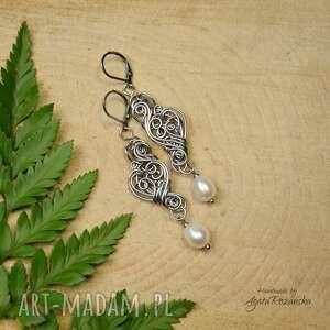 kolczyki z perłami ze stali chirurgicznej, wire wrapping, perły