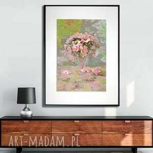 grafika w ramie kwiaty szklance 30x40, kwiaty, kwiatowe, podarek, z kwiatami
