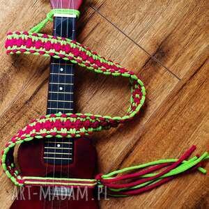 makramowy pasek do ukulele - różano zielony, ukulele, makrama