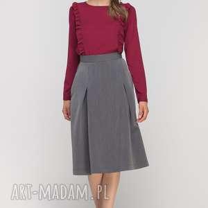 spódnica z zakładką, sp116 grafit, casual, elegancka, rozkloszowana, kieszenie, długa