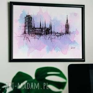gdańsk bazylika mariacka panorama, plakat, dom, rysunek, gdansk, dekoracja