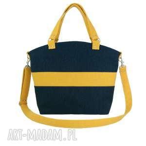 Shopper dark blue & orange - ,torebka,shopper,pojemna,plecionka,