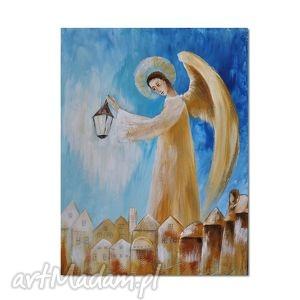 Anioł lantiel, obraz ręcznie malowany aleksandrab obraz, anioł,