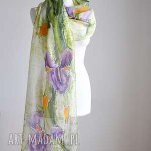 malowany jedwabny szal - irysy - szal w irysy, kwiatowy, malowany, ręcznie