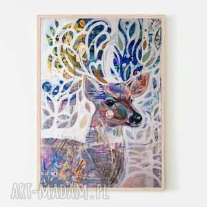plakaty plakat 100x70 cm - rogacz, plakat, wydruk, grafika, obraz, jeleń, sarna