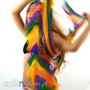 ręczne wykonanie chustki i apaszki kolorowa chusta ażurowa z frędzlami