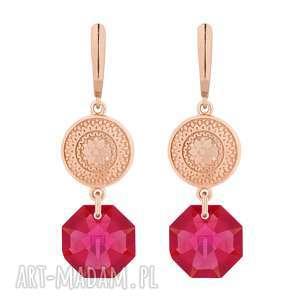 ręczne wykonanie kolczyki długie kolczyki z różowego złota z medalionami i kryształami swarovski® crystal