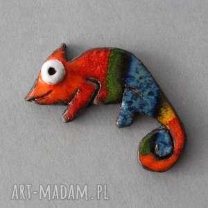 kameleon-broszka ceramiczna - prezent, odważna, niepowtarzalna, urodziny