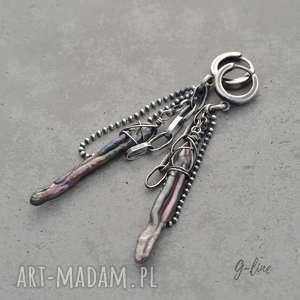 wisząca perła surowe srebrne kolczyki, srebro, hodowlana, perła