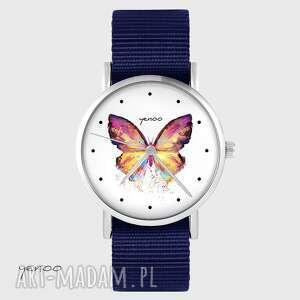 zegarek yenoo - motyl granatowy, nato, zegarek, motyl, pasek, unikatowy