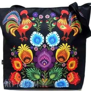 torba na zamek z motywem folk, torba, xxl, pojemna torebki