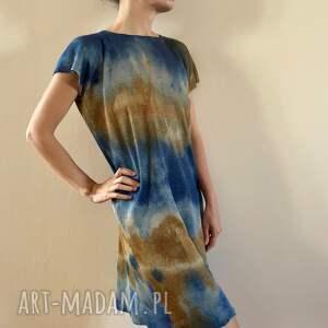 tunika lniana miód niebieski, tunika, sukienka, luźna, one size, lniana, ręcznie