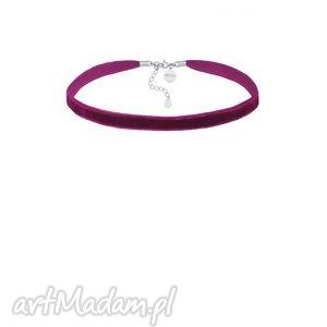 sotho purpurowy aksamitny choker z regulowanym zapięciem - minimalistyczny
