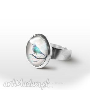pierścionek - turkusowy ptaszek