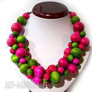 handmade naszyjniki zielono-różowe korale drewniane, masywny naszyjnik na lato