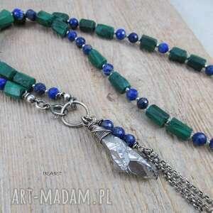 Malachit z lapis lazuli - surowy naszyjnik naszyjniki irart