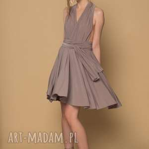 sukienka koktailowa ava kolor - beż, sukienka, wesele, impreza, studniówka, mini