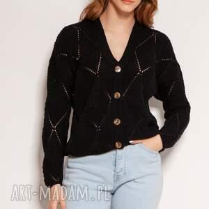 swetry ażurowy sweter na guziki - swe143 czarny, guziki, cardigan