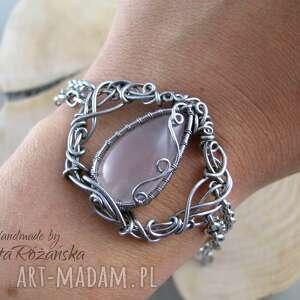 bransoletka z kwarcem różowym, wire wrapping - wire wrapping, bransoletka, kwarc