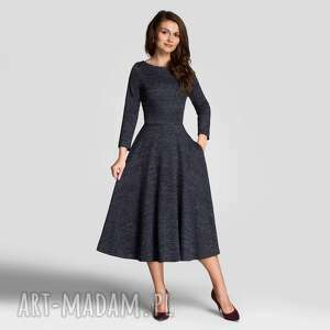 sukienki sukienka klara 3/4 total midi melanż granat