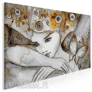 obraz na płótnie - kobieta motyl 120x80 cm 22702, kobieta