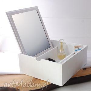 ręcznie robione lusterka toaletka - box, duża, drewniana, biała
