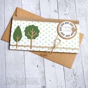 kartka kopertówka - drzewka green dots, ślub, ślubna, drzewa