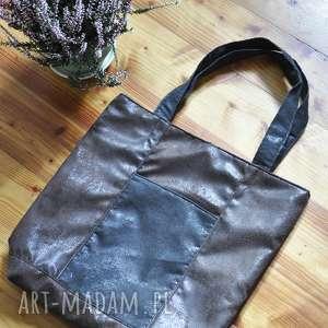 na ramię torba tote - brąz, vintage, torebka, tote