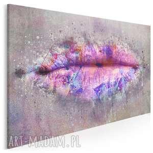 obraz na płótnie - usta różowy fioletowy 120x80 cm 71201, usta, kobieta