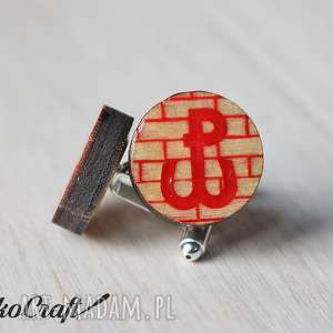ręcznie zrobione spinki do mankietów drewniane patriotyczne spinki do mankietów polska walcząca seria color