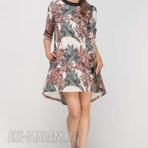 Sukienka z dłuższym tyłem, SUK148 liście, casual, wzór, rozkloszowana, kieszenie