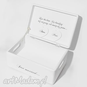 Ślubne pudełko na koperty Kopertówka Personalizowane Just married, pudełkonażyczenia