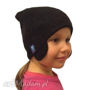 czapka włochata czarna, czapka, pilotka, czapa, dziecko, futerko