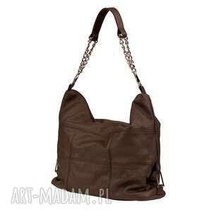 05-0005 Torebka ciemnobrązowa z łańcuszkiem na ramię FALCON, markowe, torebki