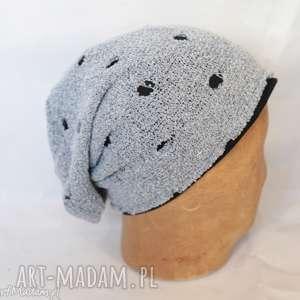 czapka wiosenna dziurkowana rozciągliwa miękka, damska handmade - czapka, etno