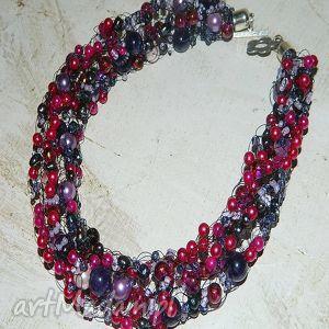 handmade naszyjniki różowe perły