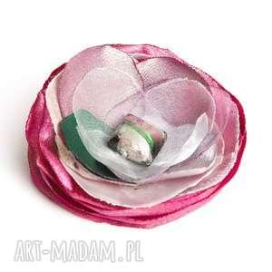 hand made broszki elegancka broszka kwiatek przypinka, broszki tekstylne