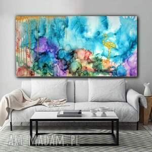 Flaming w tęczowej mgle - obraz ręcznie malowany na płótnie 120x60 cm abstrakcja