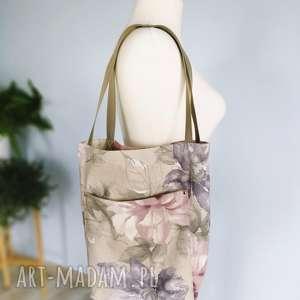 torba shopper lniana kwiaty, torba, worek, len, lniana, vintage