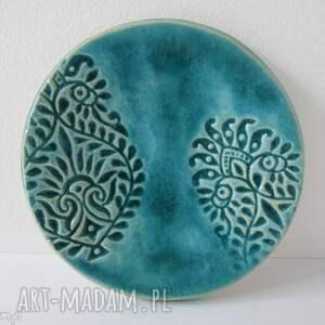 indyjski turkusowy talerzyk, fusetka, ceramiczna, mydelniczka, dekoracyjny
