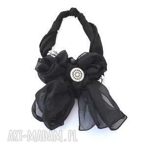take a bow naszyjnik handmade, naszyjnik, kolia, czarny, kokarda