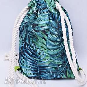 Worek plecak wodoodporny liście jasno zielone, worek, plecak,