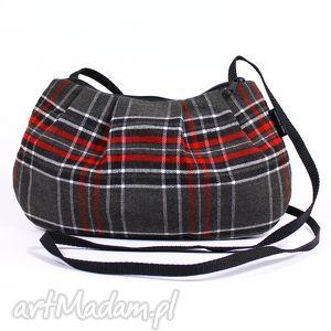 mała marszczona torebka damska w szkocką kratkę, torebka, kratka, wełna