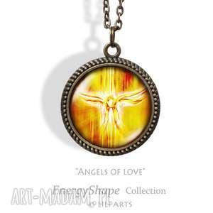 Medalion, talizman - anioły miłości angels of love antyczny brąz