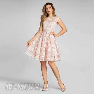 sukienka cyntia mini kamelia róż, mini, na wesele, koronkowa
